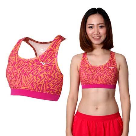 (女) MIZUNO 運動內衣- 運動背心 BRA 美津濃 路跑 慢跑 瑜珈 橘紫