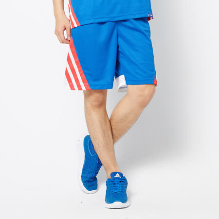 V.TEAM(男)-吸排多色拼接籃球褲-藍