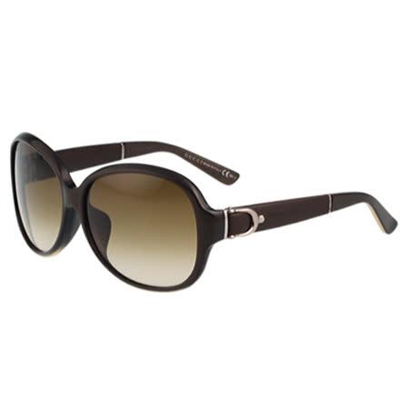 GUCCI-皮革扣環 太陽眼鏡(巧克力色)
