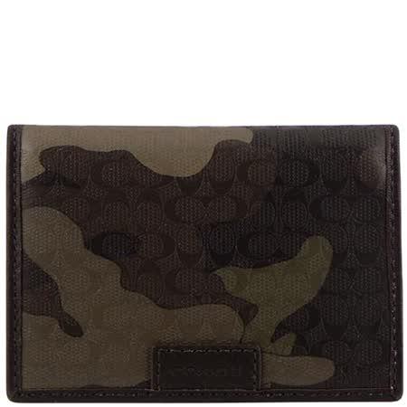 COACH 迷彩LOGO雙摺證件名片/短夾-綠色(附禮盒)
