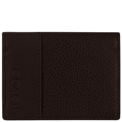 COACH 皮革壓紋雙摺證件名片/短夾-巧克力色