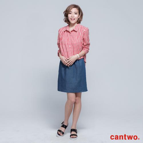 cantwo雙色格紋丹寧假兩件長袖洋裝^(共三色^)