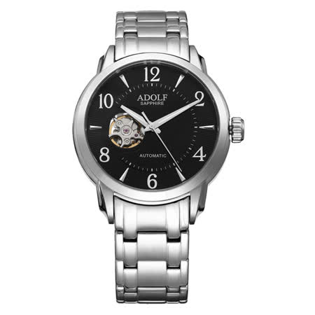 Roven Dino羅梵迪諾ADOLF系列  伴月心時尚機械腕錶-黑