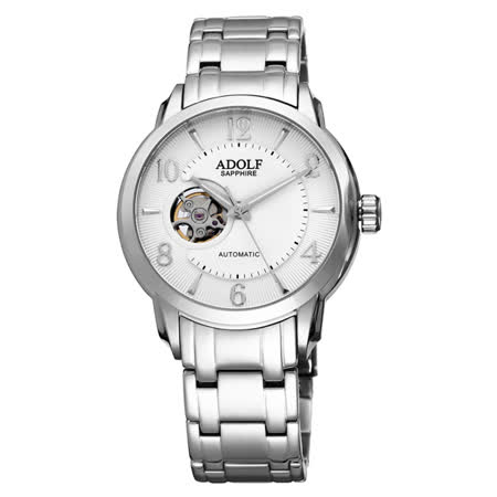 Roven Dino羅梵迪諾ADOLF系列  伴月心時尚機械腕錶-白