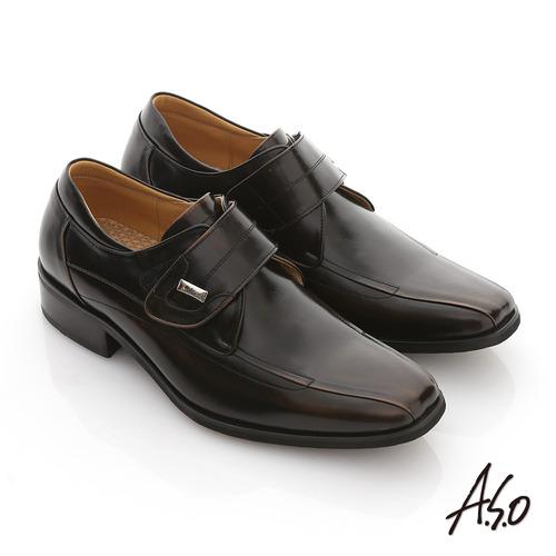 【A.S.O】超輕型男 真皮金屬飾扣魔術帶輕量紳士鞋(茶)