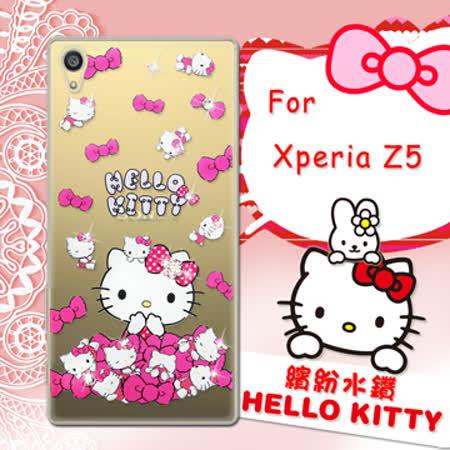 三麗鷗SANRIO正版授權 Hello Kitty Sony Xperia Z5 5.2吋 水鑽系列透明軟式手機殼(蝴蝶結凱蒂)