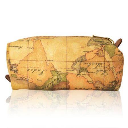 Alviero Martini 義大利地圖包 拉鍊筆袋化妝包-地圖黃/小