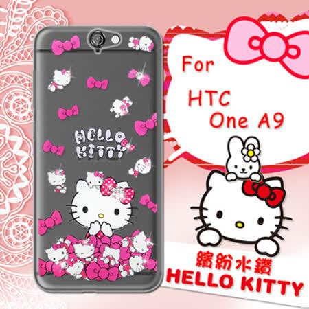 三麗鷗SANRIO正版授權 Hello Kitty HTC One A9 水鑽系列透明軟式手機殼(蝴蝶結凱蒂)