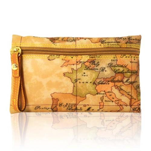 Alviero Martini 義大利地圖包 尼龍拉鍊收納化妝包~地圖黃小