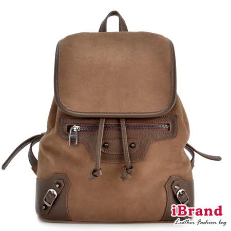 iBrand真皮-韓系風格率性真皮X麂皮機車雙肩後背包-咖啡色
