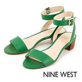 NINE WEST--一字繫帶低跟涼鞋--溫煦橘