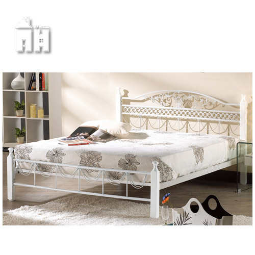 AT HOME-艾爾5尺白色雙人鐵床