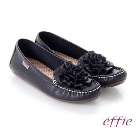 【effie】手工縫線 牛皮立體花瓣奈米平底休閒鞋(黑)