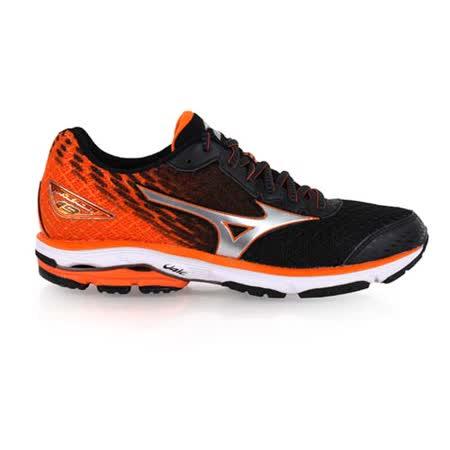 (男) MIZUNO WAVE RIDER 19 慢跑鞋-慢跑 路跑 美津濃 橘黑