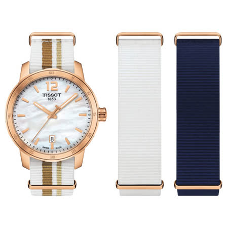 TISSOT QUICKSTER NATO 活力運動腕錶-白貝x玫瑰金/40mm T0954103711700