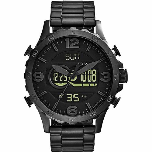 FOSSIL Nate 世紀戰神雙顯計時腕錶-黑/50mm JR1507
