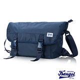 KANGOL 英式時尚輕時尚休閒大空間郵差包防潑水尼龍 斜側包-寶藍KG1116-08