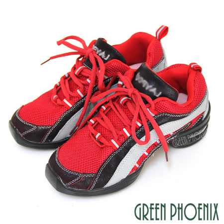 【GREEN PHOENIX】魔力經典輕量流線爆裂紋異材質拼接綁帶氣墊排舞鞋