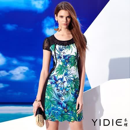 【YIDIE 衣蝶】透膚網紗剪接印花短洋裝