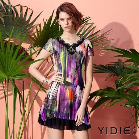 【YIDIE 衣蝶】鑽飾花瓣領炫彩印花洋裝