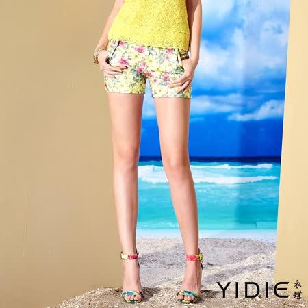 【YIDIE 衣蝶】夏日風裝飾壓線花卉小短褲