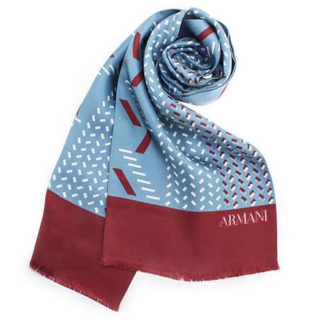 ARMANI COLLEZIONI 時尚斜紋絲綢圍巾-水藍色