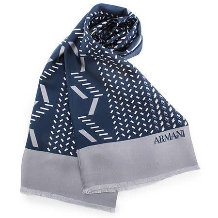 ARMANI COLLEZIONI 時尚斜紋絲綢圍巾-藍色