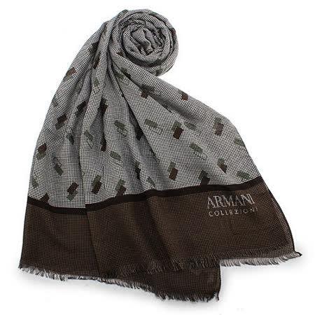 ARMANI COLLEZIONI 細格紋造型流蘇薄圍巾-咖啡色