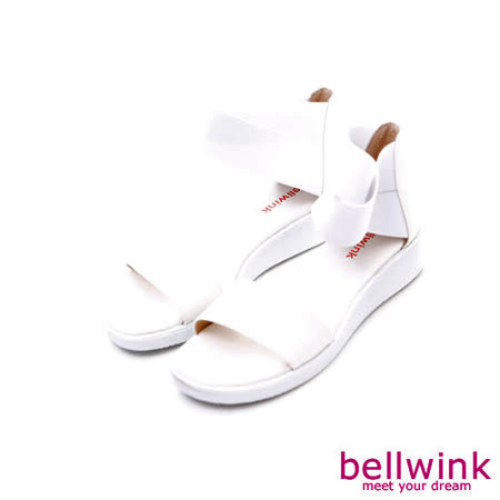 bellwink【B-9126WE】夏季摩登寬帶休閒涼鞋-白色