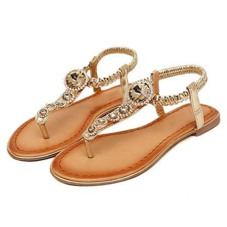 《JOYCE》奢華浪漫璀璨晶鑽平底夾腳涼鞋-金