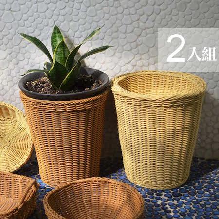 【收納職人】鄉村風收納裝飾編織置物籃PP藤編籃-圓桶2入組