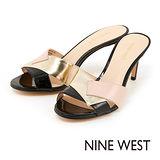 NINE WEST--都會優雅三色編織高跟涼鞋--黑金配色