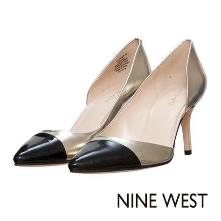 NINE WEST--鏤空拼色高跟鞋--都會黑金