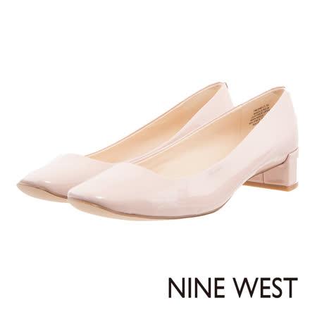 NINE WEST--漆皮低粗跟鞋--輕盈粉