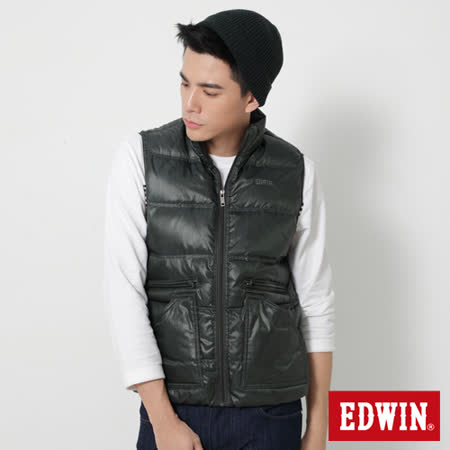 EDWIN 網路限定 雙拉鍊口袋羽絨背心-男-苔綠色