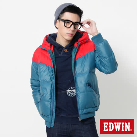 EDWIN 網路限定 可拆帽雙色拼接羽絨外套-男-紅色