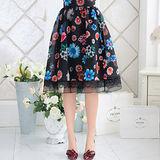 【KVOLL中大尺碼】黑色清新菊花中腰及膝裙