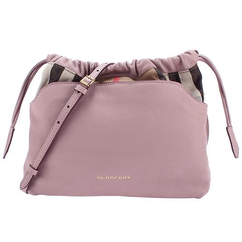 BURBERRY 新款Crush格紋皮革拼接小型斜背束口包-芋紫色