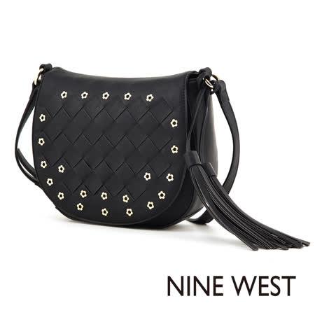 Nine West--流蘇綴飾編織馬鞍包--百搭黑