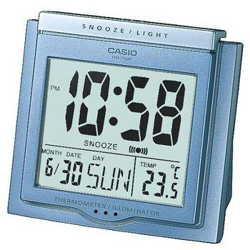 CASIO卡西歐 溫度計與日期功能 大字幕鬧鐘 -藍  DQ-750F-2