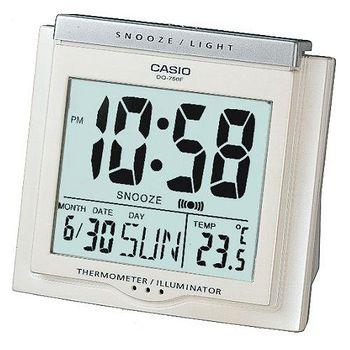 CASIO卡西歐 溫度計與日期功能 大字幕鬧鐘 -白  DQ-750F-7