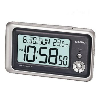 CASIO卡西歐 溫度計與日期功能 大字幕鬧鐘 -銀灰  DQ-748-8