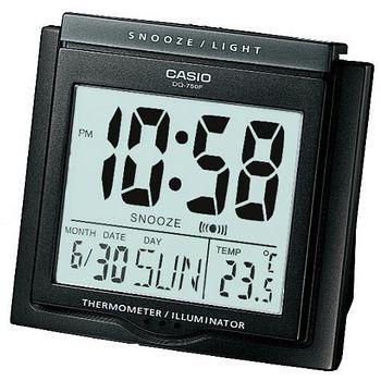 CASIO卡西歐 溫度計與日期功能 大字幕鬧鐘 -黑  DQ-750F-1