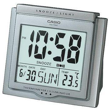 CASIO卡西歐 溫度計與日期功能 大字幕鬧鐘 -灰  DQ-750F-8