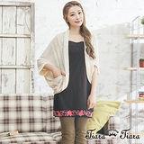 【Tiara Tiara】GO獨有 五分飛鼠袖拼接透感外搭罩衫(米/黑)
