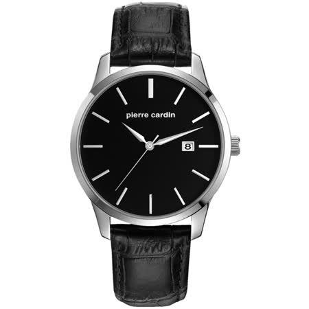 pierre cardin皮爾卡登 極度品味時尚錶-銀框黑x黑皮帶x大