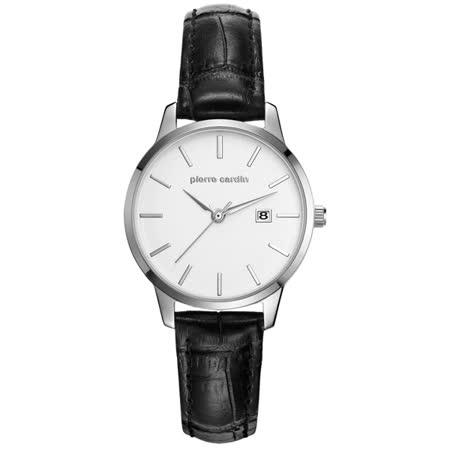 pierre cardin皮爾卡登 極度品味時尚錶-銀框白x黑皮帶x小