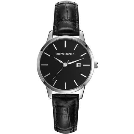 pierre cardin皮爾卡登 極度品味時尚錶-銀框黑x黑皮帶x小