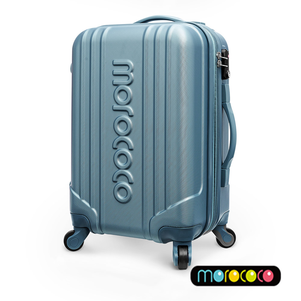 MOROCOCO繽紛卡邦-20吋超輕量ABS防刮霧面加大拉鍊行李箱(金屬藍)