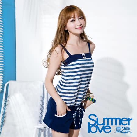 【SUMMERLOVE夏之戀】寶藍金蔥連身褲二件式泳衣(S16701)